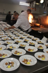 Jeff adds the final touches before the second course goes out