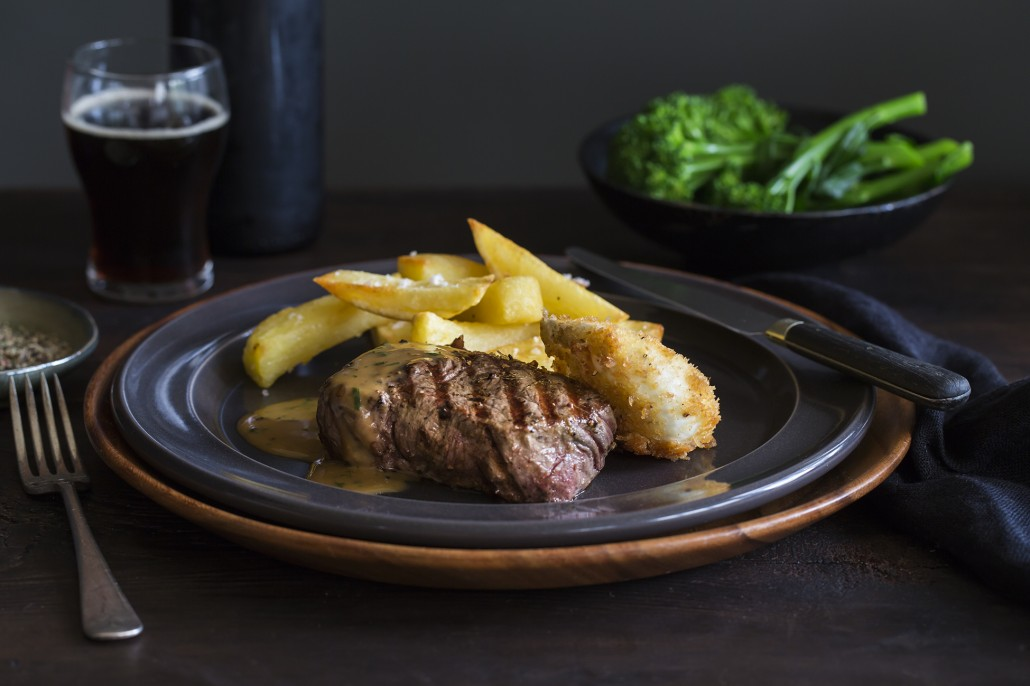 Porterhouse Steak with Duckfat Chips and Peppercorn Sauce